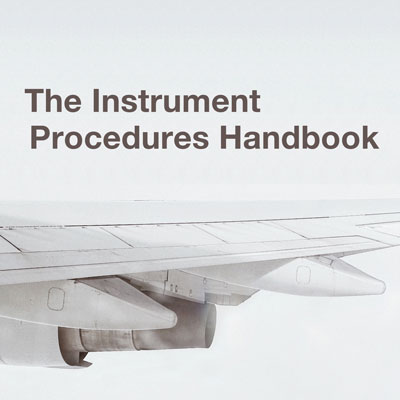 'Instrument Procedures Handbook' on a background with an airplane detail