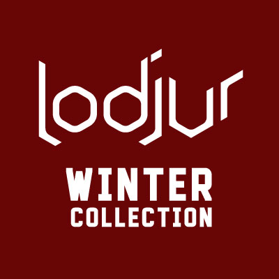 Lodjur Winter Collection logo on a cranberry background