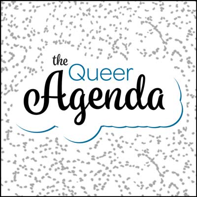 'The Queer Agenda' logo on a dotted background