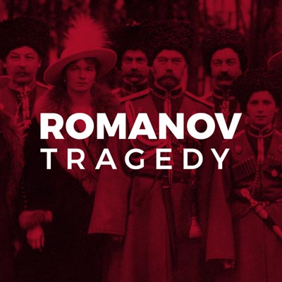 'Romanov Tragedy' on a crimson photographic background