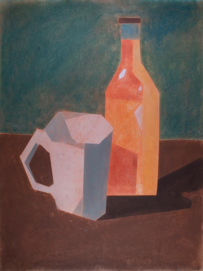 Pastel drawing of an orange soda bottle and a white mug on a deep green background