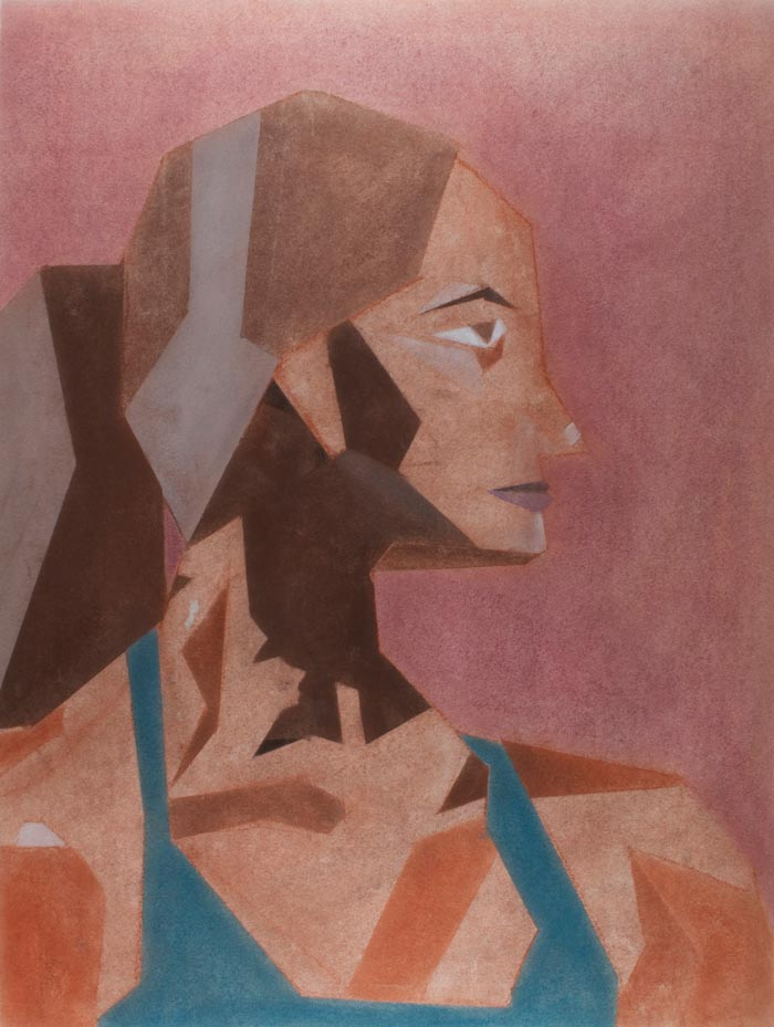Pastel drawing of a woman with abstract shadows on a mauve background