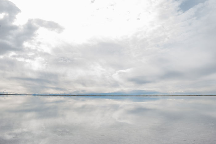 The horizon at the Bonneville Salt Flats in northwestern Utah
