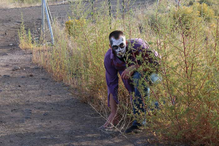 A man with zombie makeup crouches in a bush